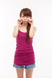 Depressed young Asian woman. Isolated on white background Royalty Free Stock Image