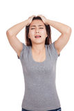 Depressed young Asian woman cry out Royalty Free Stock Photo