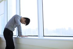 Depressed young business man stock images
