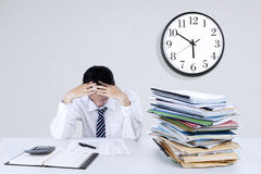Depressed young businessman stock images