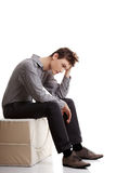 Depressed young man. On white background Stock Photography