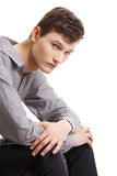 Depressed young man. Isolated on white background Stock Photography