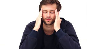 Depressed young man. On white background stock video footage