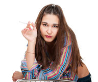 Depressed young woman Royalty Free Stock Images