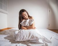 Insomnia depressed woman. Depressed Young woman with insomnia in bed cant sleep Stock Image
