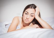 Insomnia depressed woman Royalty Free Stock Images