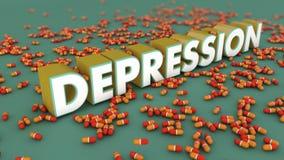 Depressie 3d tekst Stock Afbeeldingen