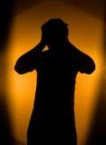 Depressie en pijn - silhouet van de mens Royalty-vrije Stock Afbeeldingen