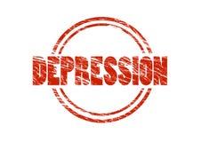 Depressie Rode uitstekende rubberdiezegel op witte achtergrond wordt geïsoleerd royalty-vrije stock foto's