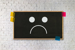 Depressief emotiesconcept, gedrukt smileygezicht emoticon depr royalty-vrije illustratie
