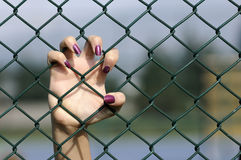 Depression. Close up of hand on chain-link fence. young women hand stock photos
