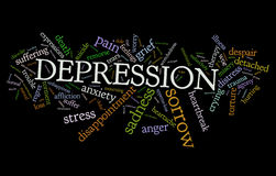Depression. A cloud of words of the symptoms, characteristics and other depression related words, in black background stock illustration