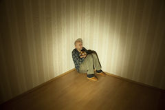 Depression. Lonely man in angle ill on depression Stock Images