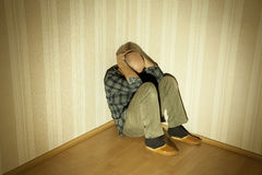 Depression. Lonely man in angle ill on depression Stock Image