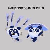 Depression. Antidepressants pills. Mental Health Problem. Two pa vector illustration