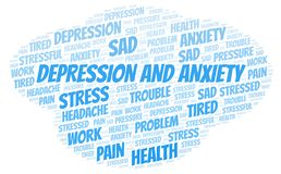 Depression And Anxiety word cloud royalty free illustration