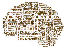 Depression brain text. Illustration of depression text in the form of brain vector illustration