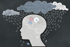 Depression Concept with Heavy Rain directly aimed at depressive Human Profile with a broken Brain. Illustrated with Chalk on. Blackboard stock illustration