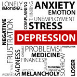 Depression concept made with words Royalty Free Stock Photos