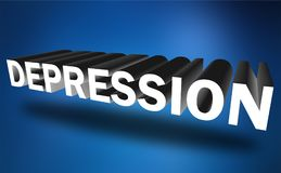 Depression. 3D block text graphics depression in white on blue Royalty Free Stock Image