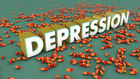 Depression 3d text. And floor Stock Images