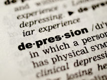 Depression definition. Dictionary definition of the word Depression Royalty Free Stock Photo