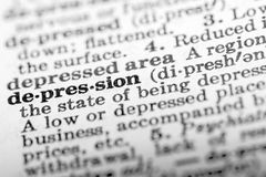 Depression. Definition Of Word Depression In Dictionary Stock Images