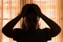 Depression. Asian woman is sad and stress in bedroom, close up at face Royalty Free Stock Photos