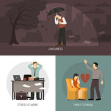 Depression 2x2 Design Concept. With loneliness stress at work and family scandal compositions flat vector illustration Royalty Free Stock Photos