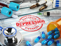 Depression diagnosis. Stamp, stethoscope, syringe, blood test an. D pills on the clipboard with medical report. 3d illustration Stock Photos