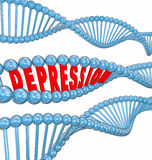 Depression Disease Mental Illness Word DNA Strand Hereditary Gen. Depression word in 3d letters in a DNA strand to illustrate that the disease or mental illness Stock Photo