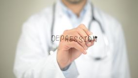 Depression, Doctor writing on transparent screen. High quality stock photography