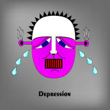 Depression face illustration Stock Image