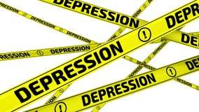 depression Fitas de advertência amarelas no movimento ilustração stock