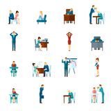 Depression Flat Icons Set Royalty Free Stock Images
