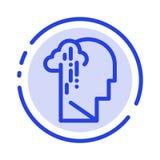 Depression, Grief, Human, Melancholy, Sad Blue Dotted Line Line Icon vector illustration