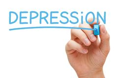Depression Handwritten With Blue Marker Royalty Free Stock Photos