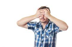Depression; head; male; pain; stress; caucasian; depressed; desp Stock Images
