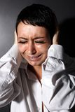 Depression, headache woman Stock Photo