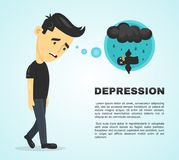 Depression infographic concept. Vector flat. Cartoon illustration icon design poster. Sad melancholy young man character Stock Photo