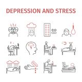 Depression infographic Symptoms, Treatment. Line icons set. Vector signs for web graphics. Depression Symptoms, Treatment. Line icons set. Vector signs for web stock illustration