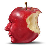 Depression And Loneliness. With human head in the shape of an apple with a bite eaten out of the red fruit as a health care symbol of despair and loss of brain stock illustration
