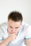 Depression. Male in depression sitting thinking Stock Photography