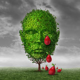 Depression And Mental Health. Concept as a tree shaped as a human head that is crying fruit shaped as tear drops as a metaphor for being depressed postpartum or Royalty Free Stock Photography