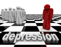 Depression - One Person Stands Alone. One figure stands apart from the group, symbolizing depression Royalty Free Stock Images