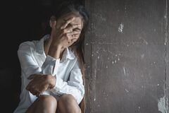Free Depression Or Domestic Violence Concept, Desaturated Grunge Image Of A Very Sad Adult Woman Crying Stock Image - 169400891