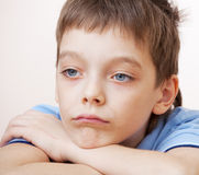 Depression. Sad boy. Depression child at home Royalty Free Stock Images