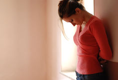 Depression and sorrow. Teenage girl in a depressed state Stock Photography
