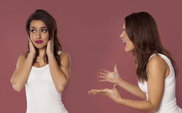Depression or stress concept. Woman arguing with herself as a depression or stress concept Royalty Free Stock Images