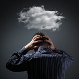 Depression. Stress, depression and despair - gloomy storm cloud above mans head stock photos